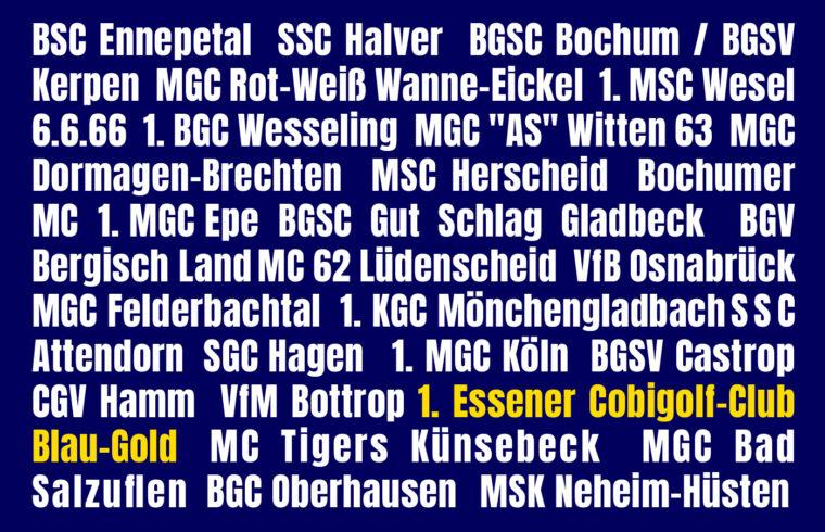 Namen der Vereine, die an der 2. regioalen DMV-Pokal-Runde 21-23 teilnehmen